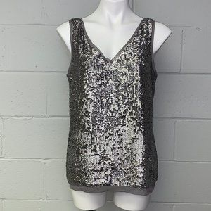 Talbots Silver Sequin Tank Top Blouse